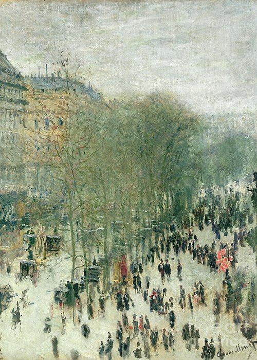 Boulevard Greeting Card featuring the painting Boulevard Des Capucines by Claude Monet