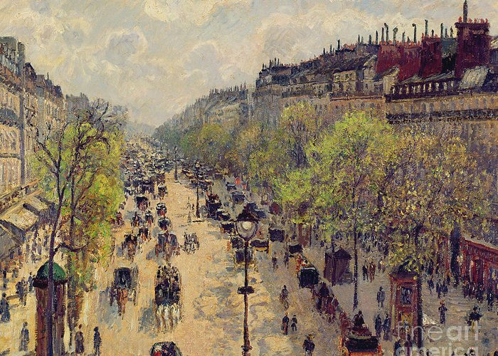 Pissarro Greeting Card featuring the painting Boulevard Montmartre by Camille Pissarro