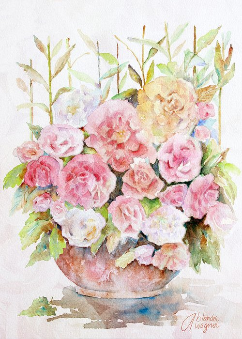 Rose Greeting Card featuring the painting Bowl Full Of Roses by Arline Wagner