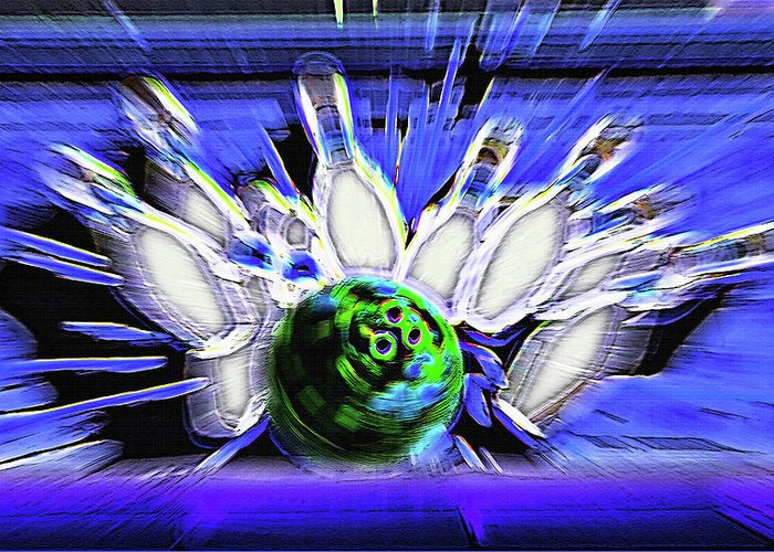 Bowl Greeting Card featuring the photograph Bowling Sign - Strike by Steve Ohlsen