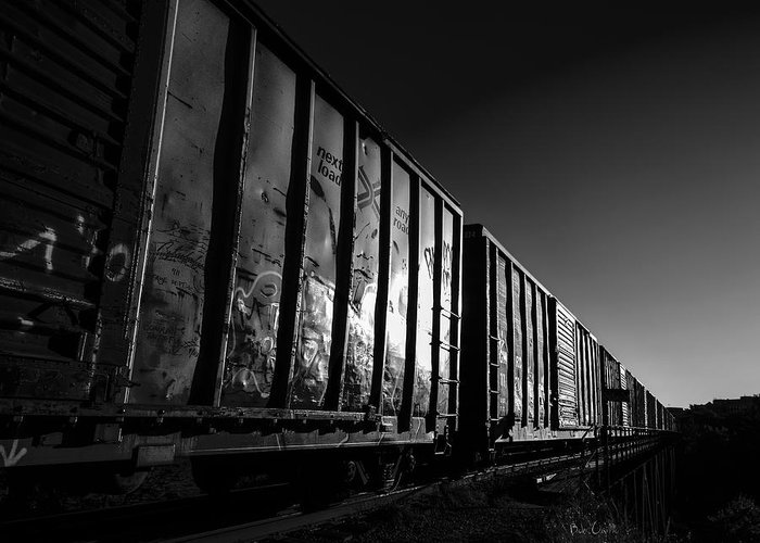 Train Greeting Card featuring the photograph Boxcar Sunrise by Bob Orsillo