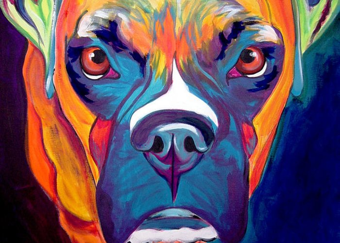 Boxer Greeting Card featuring the painting Boxer - Harley by Alicia VanNoy Call