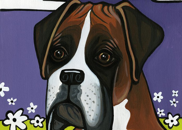 Boxer Greeting Card featuring the painting Boxer by Leanne Wilkes