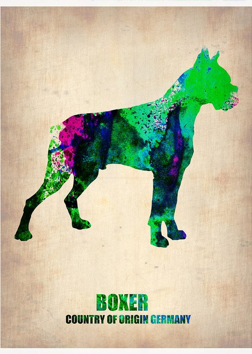 Boxer Greeting Card featuring the painting Boxer Poster by Naxart Studio
