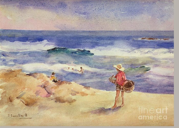 Boy On The Sand (w/c On Paper)coast; Coastal; Beach; Holiday; Seaside; Waves; Basket; Swimming; Playing;watercolor Greeting Card featuring the painting Boy On The Sand by Joaquin Sorolla