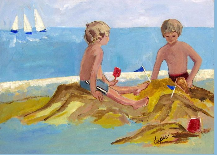 Boys Greeting Card featuring the painting Boys At The Beach by Betty Pieper