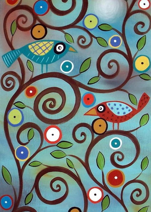Birds Greeting Card featuring the painting Branch Birds by Karla Gerard