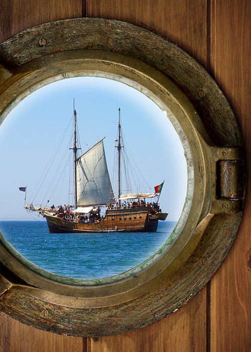 Aged Greeting Card featuring the photograph Brass Porthole by Carlos Caetano