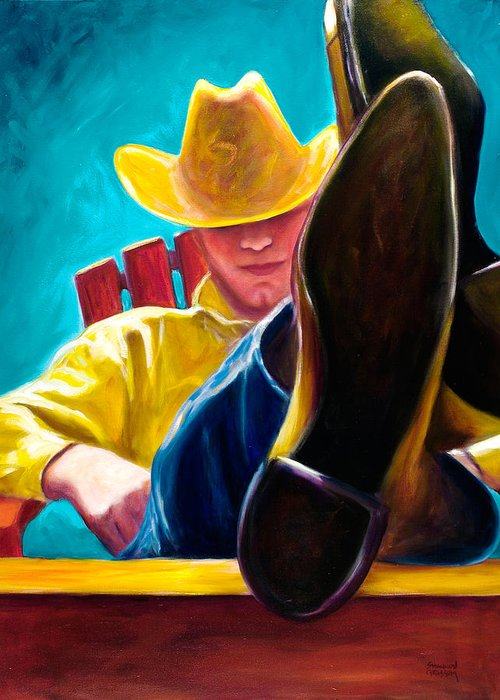 Western Greeting Card featuring the painting Break Time by Shannon Grissom