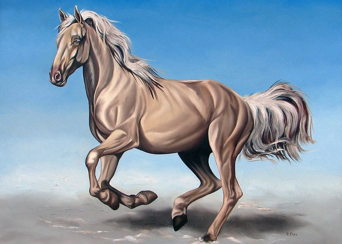 Horse Greeting Card featuring the painting Breeze by Ilse Kleyn