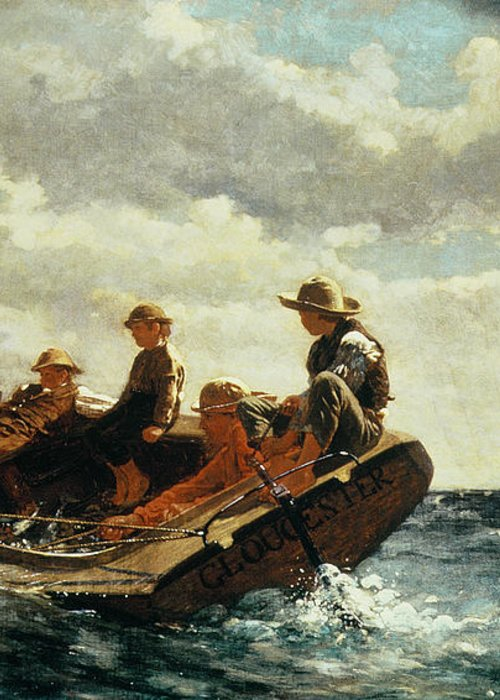 Breezing Up (a Fair Wind) 1873-76 (oil On Canvas) By Winslow Homer (1836-1910)boat Greeting Card featuring the painting Breezing Up by Winslow Homer