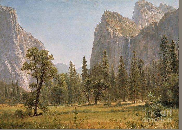 Bridal Greeting Card featuring the painting Bridal Veil Falls Yosemite Valley California by Albert Bierstadt