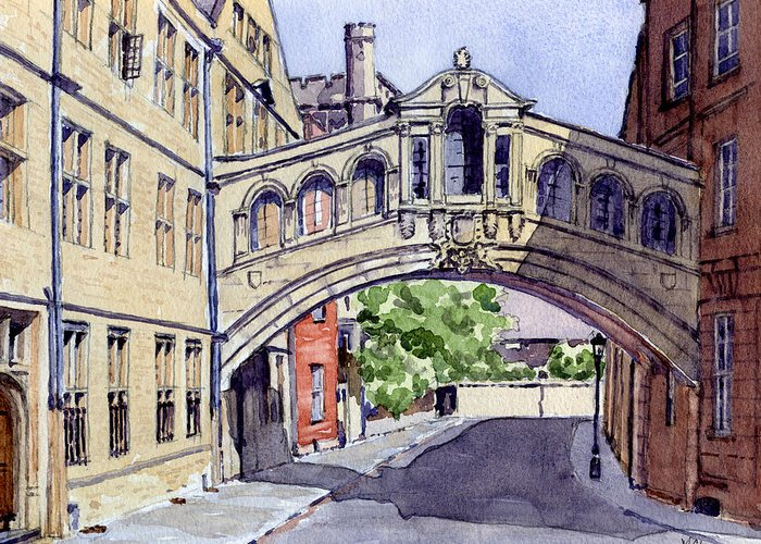 Academic Greeting Card featuring the painting Bridge Of Sighs. Hertford College Oxford by Mike Lester
