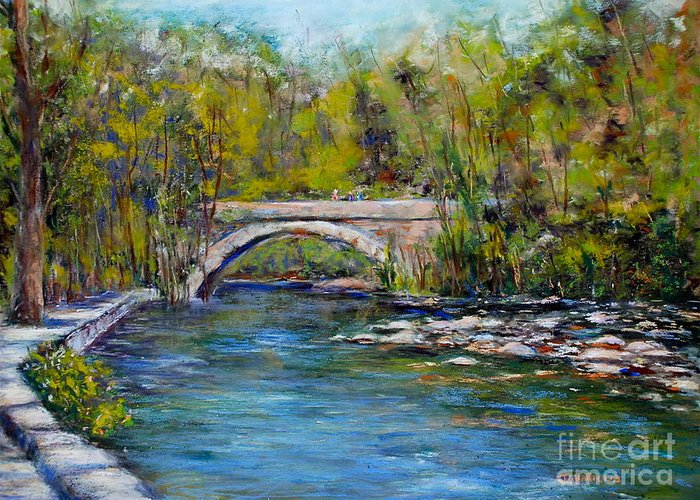 Philadelphia Greeting Card featuring the pastel Bridge Over Wissahickon Creek by Joyce A Guariglia