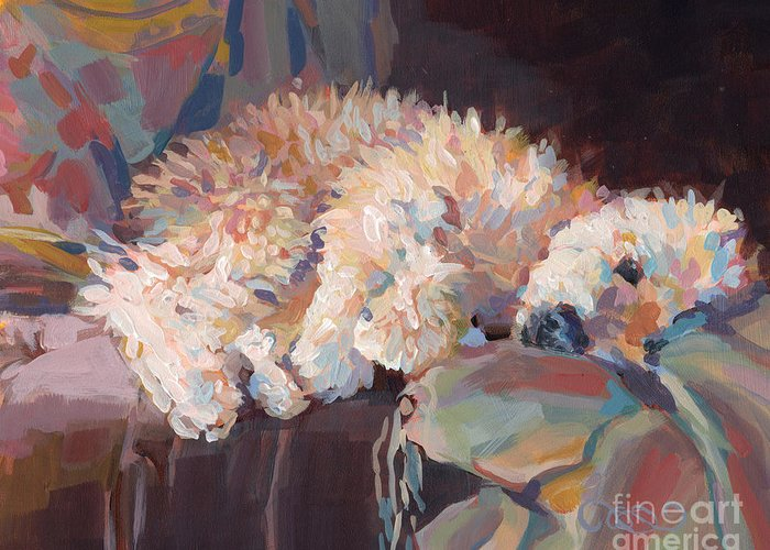 Goldendoodle Greeting Card featuring the painting Brie As Odalisque by Kimberly Santini