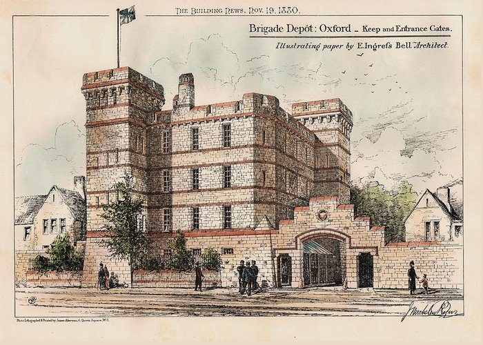 Brigade Greeting Card featuring the painting Brigade Depot Oxford England 1880 by Ingrefs Bell