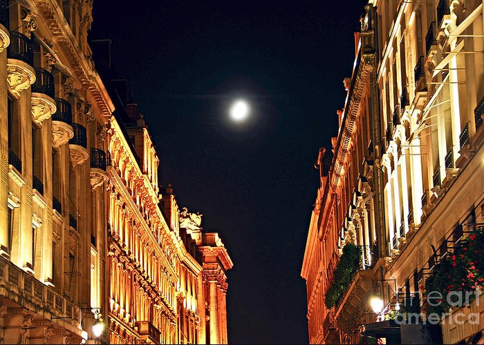 Architecture Greeting Card featuring the photograph Bright Moon In Paris by Elena Elisseeva