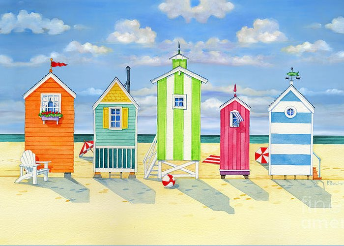 Brighton beach huts greeting card for sale by paul brent for Model beach huts