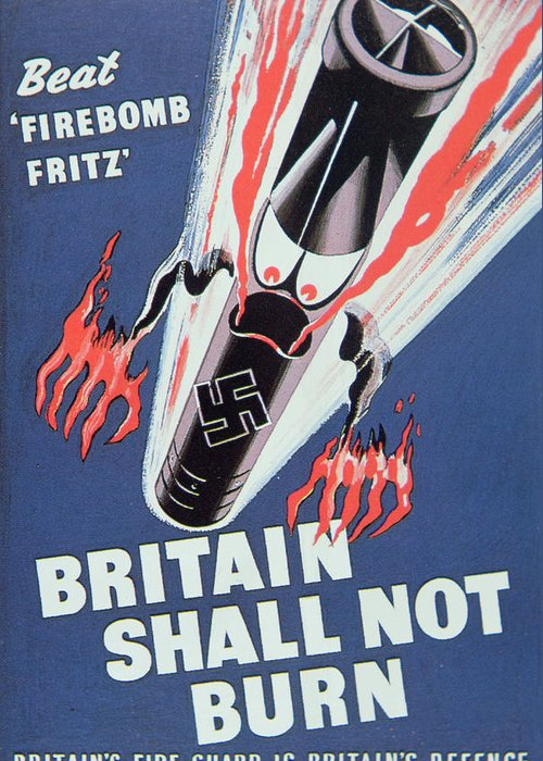 Missile;bomb;london;angry;second World War;wwii;ww2;fire;luftwaffe;blitzkrieg;propaganda;morale Booster;boosting;firebombing;2nd;2 Greeting Card featuring the painting Britain Shall Not Burn by English School