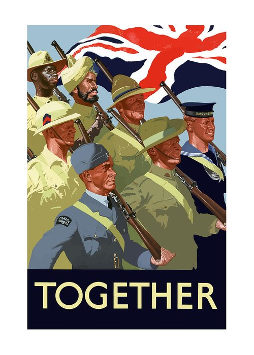 Union Flag Greeting Card featuring the painting British Empire Soldiers Together by War Is Hell Store