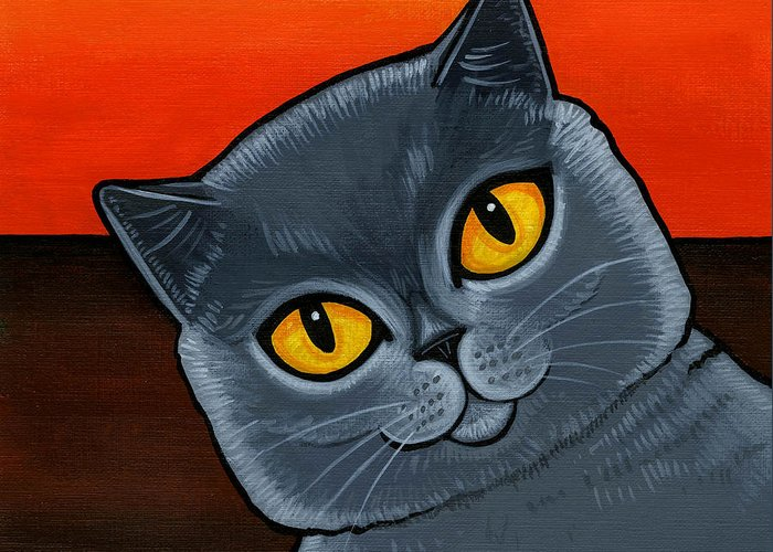British Shorthair Cat Greeting Card featuring the painting British Shorthair by Leanne Wilkes