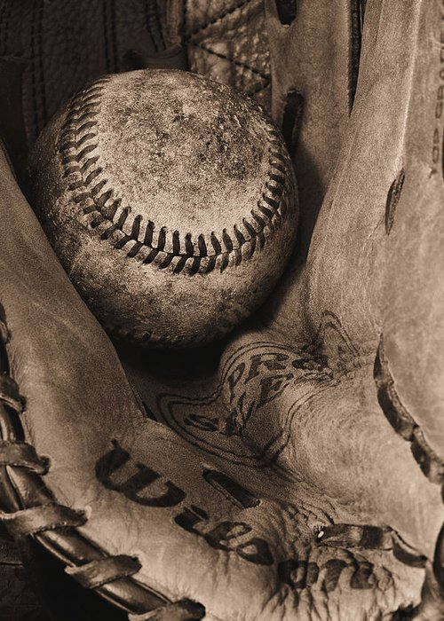 Baseball Greeting Card featuring the photograph Broken In Bw by JC Findley
