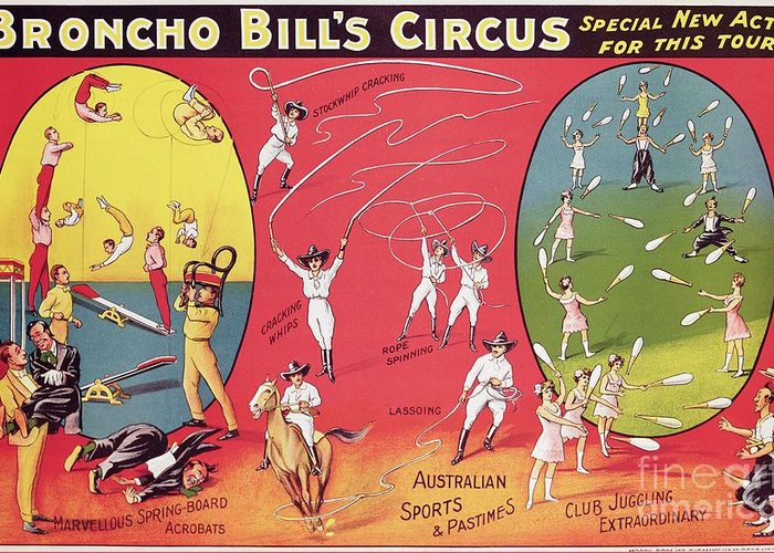 Broncho Bill's Circus Greeting Card featuring the painting Bronco Bills Circus by English School