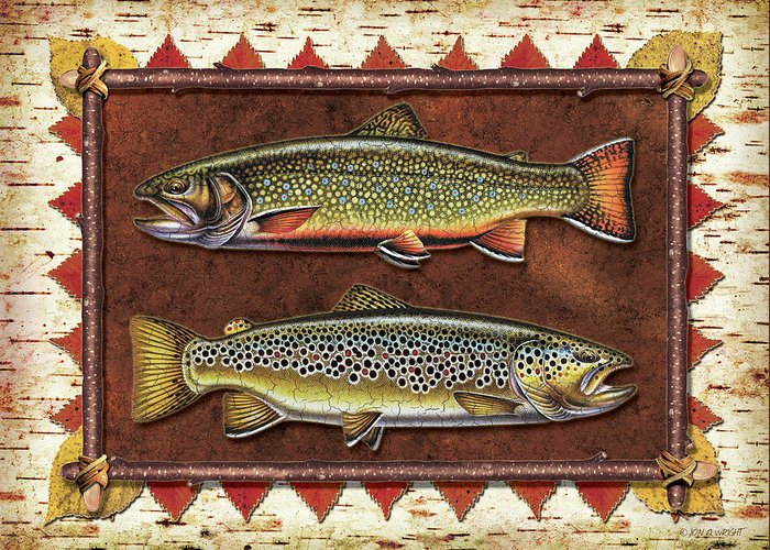 Trout Greeting Card featuring the painting Brook And Brown Trout Lodge by JQ Licensing