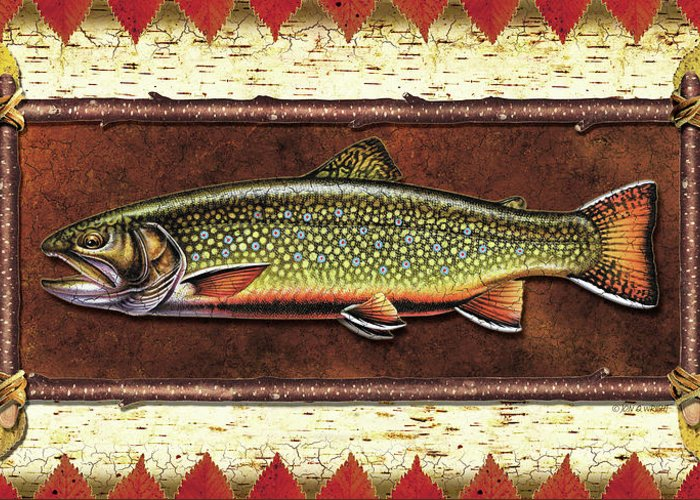 Trout Greeting Card featuring the painting Brook Trout Lodge by JQ Licensing