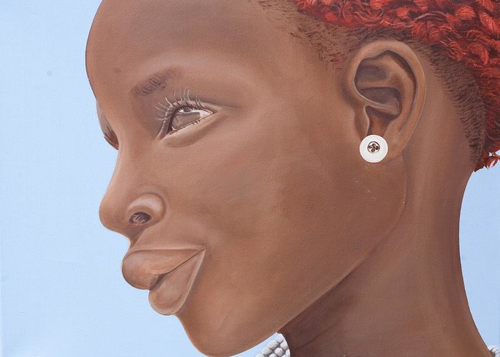 Kaaria Greeting Card featuring the painting Brown Introspection by Kaaria Mucherera