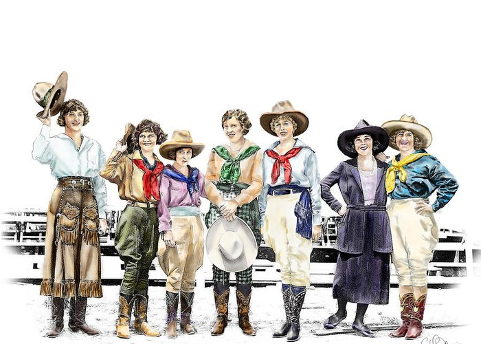 Cowgirl Greeting Card featuring the painting Buckin Horse Suffragettes by Shirley Morris