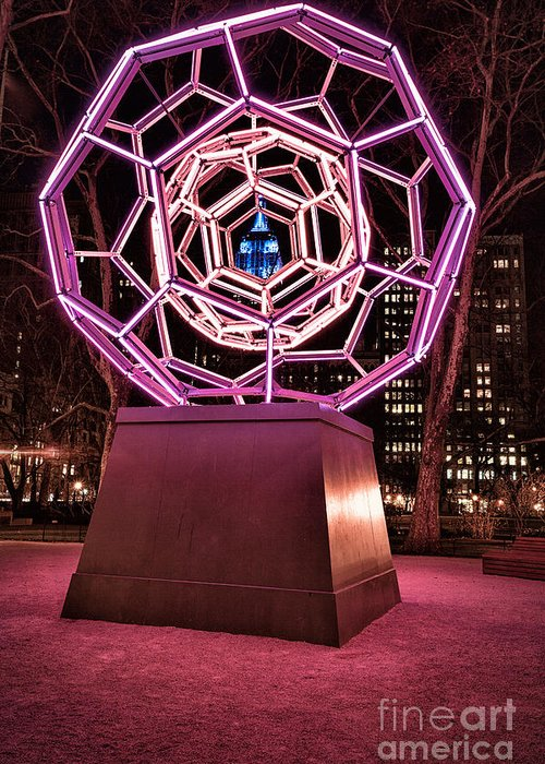 Art Installation Greeting Card featuring the photograph bucky ball Madison square park by John Farnan