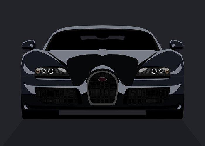 Bugatti Greeting Card featuring the digital art Bugatti Veyron Dark by Michael Tompsett