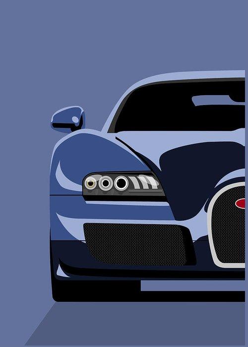 Bugatti Veyron Greeting Card featuring the digital art Bugatti Veyron by Michael Tompsett