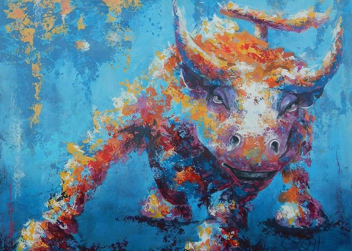 Abstract Greeting Card featuring the painting Bull Market X by John Henne