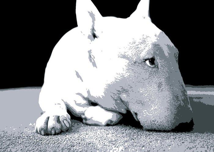 English Bull Terrier Greeting Card featuring the digital art Bull Terrier White On Black by Michael Tompsett