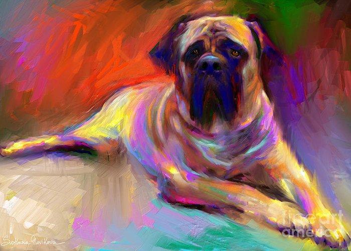 Bull Mastiff Painting Greeting Card featuring the painting Bullmastiff Dog Painting by Svetlana Novikova