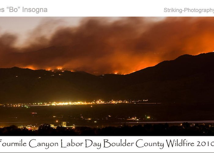 Greeting Card featuring the photograph Burning Foothills Above Boulder Fourmile Wildfire Panorama Poster by James BO Insogna
