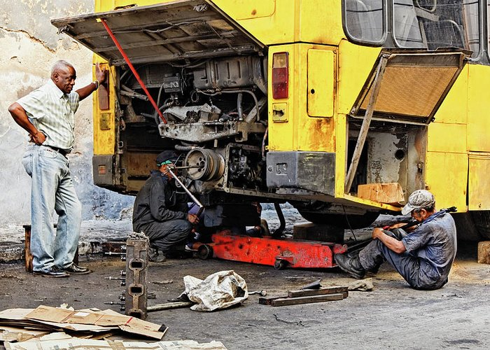Auto Mechanic Greeting Card featuring the photograph Bus Repairs by Dawn Currie