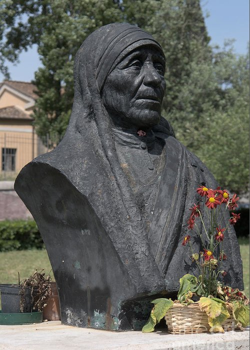 Christian Greeting Card featuring the photograph Bust Of Mother Teresa by Fabrizio Ruggeri