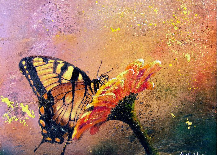 Nature Greeting Card featuring the painting Butterfly by Andrew King