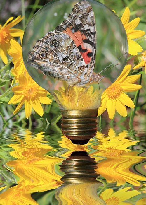 Butterfly Greeting Card featuring the photograph Butterfly In A Bulb II by Shane Bechler