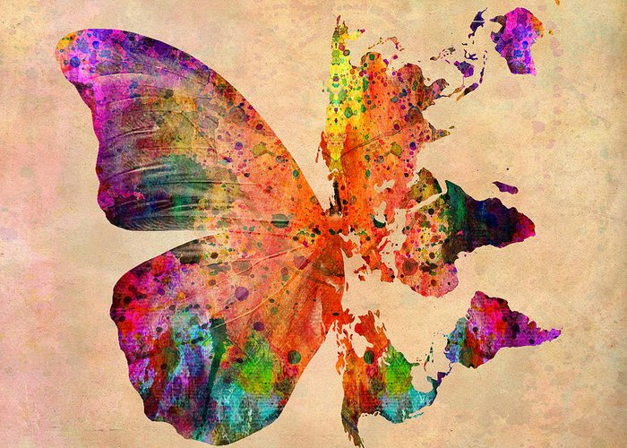 Butterfly Greeting Card featuring the digital art Butterfly World Map by Mark Ashkenazi