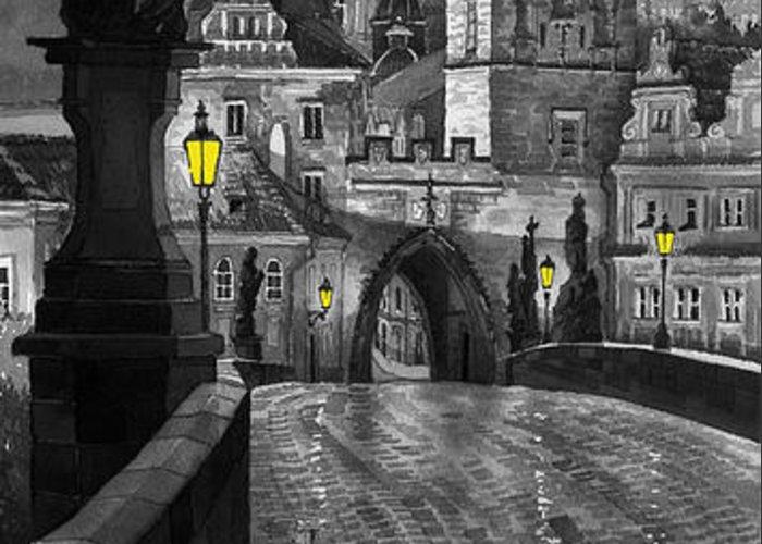 Prague Greeting Card featuring the painting Bw Prague Charles Bridge 03 by Yuriy Shevchuk
