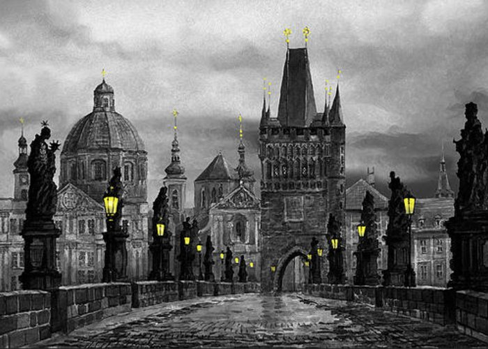 Prague Greeting Card featuring the painting Bw Prague Charles Bridge 04 by Yuriy Shevchuk