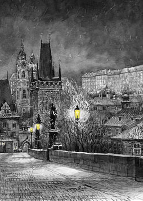 Prague Greeting Card featuring the painting Bw Prague Charles Bridge 06 by Yuriy Shevchuk