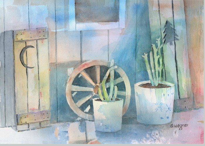 Shed Greeting Card featuring the painting By The Side Of The Shed by Arline Wagner