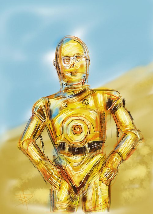 Star Wars Greeting Card featuring the digital art C3po by Russell Pierce