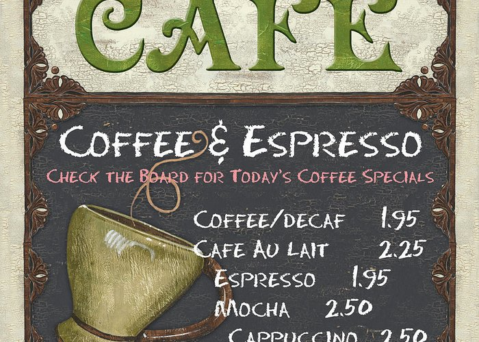 Cafe Greeting Card featuring the painting Cafe Chalkboard by Debbie DeWitt
