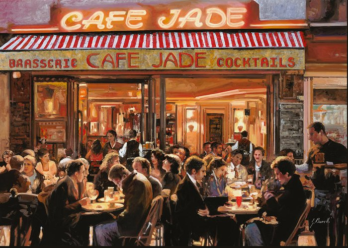 Brasserie Greeting Card featuring the painting Cafe Jade by Guido Borelli